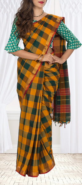 Green & Mustard Cotton Saree