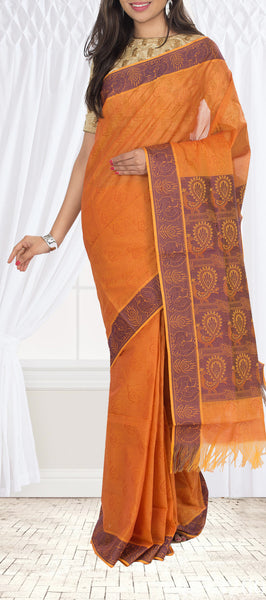 Burnt Orange & Purple Embossed Cotton Saree