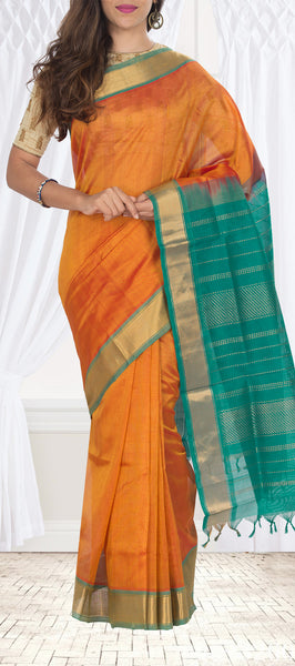 Orange & Coral Green SIlk Cotton Saree