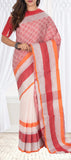 Cream & Red Linen Saree