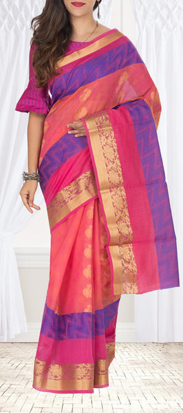 Peach & Pink Semi Silk Cotton Saree