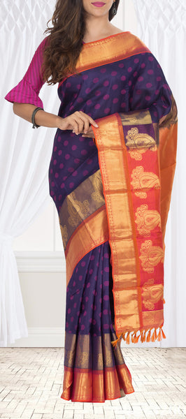 Dark Purple & Orange Lightweight Kanchipuram Handloom Silk Saree