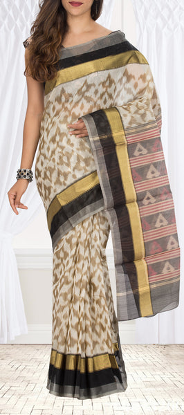 Off White & Black Silk Cotton Saree