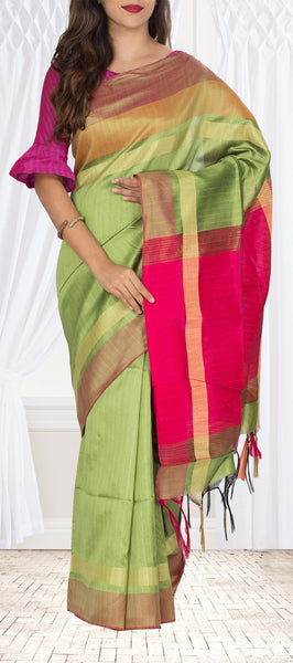 Light Green & Bright Pink Semi Jute Saree