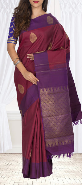 Maroon & Purple Kanchipuram Handloom Silk Saree With Pure Zari