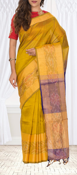 Mustard-Green Shot Colour Silk Cotton Saree