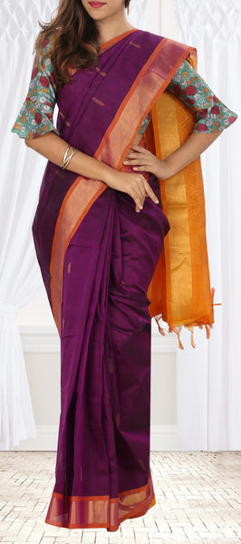 Purple and Mustard Traditional Silk Cotton Saree