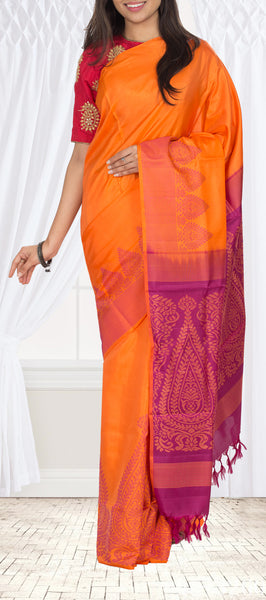 Orange & Magenta Soft Silk Saree
