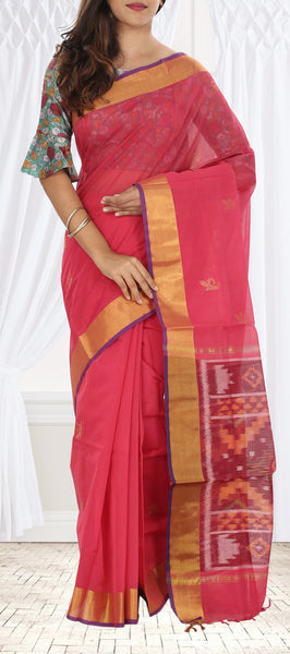 Pink Semi Silk Cotton Saree