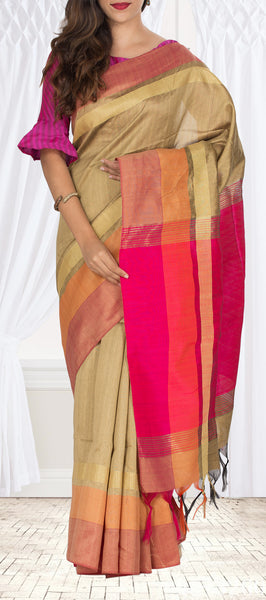 Light Beige & Pink Semi Jute Saree