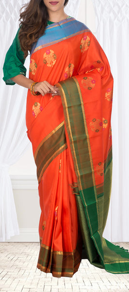 Orange Kanchipuram Handloom Silk Saree With Pure Zari