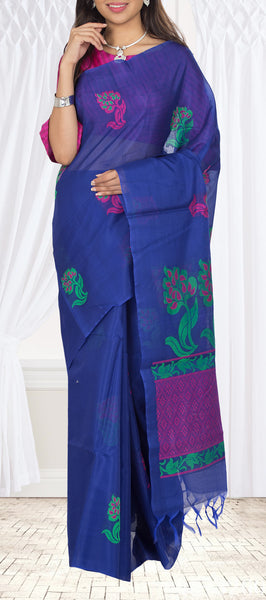 Midnight Blue Silk Cotton Saree