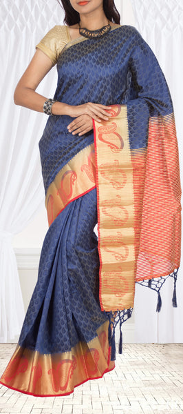 Dark Blue & Orange Semi Tussar Saree