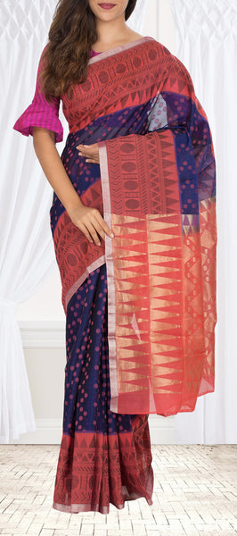Deep Blue Silk Cotton Saree