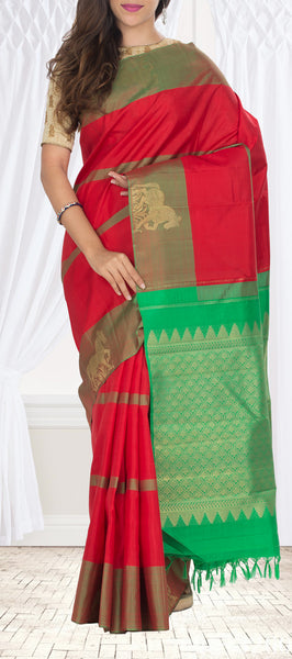 Red & Green Kanchipuram Handloom Silk Saree With Pure Zari