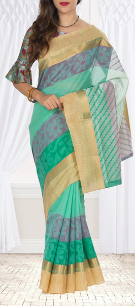 Coral Blue Semi Silk Cotton Saree