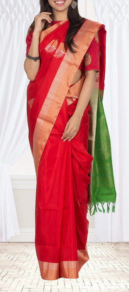 Bright Red & Green Soft Silk Saree