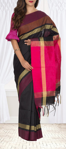 Black & Pink Semi Jute Saree