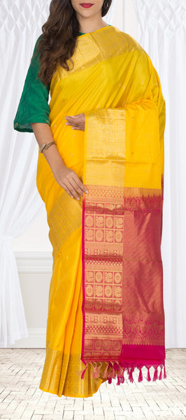 Mango Yellow & Dark Pink Pure Kanchipuram Handloom Silk Saree With Pure Zari