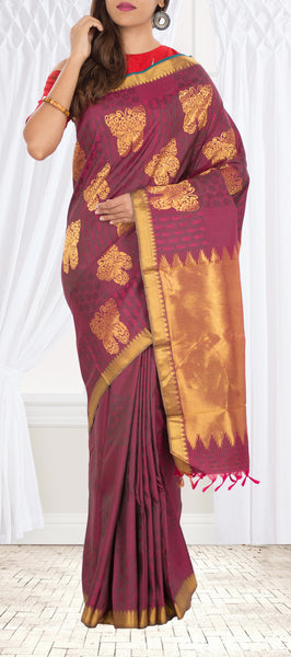 Ruby Red Pure Kanchipuram Handloom Silk Saree