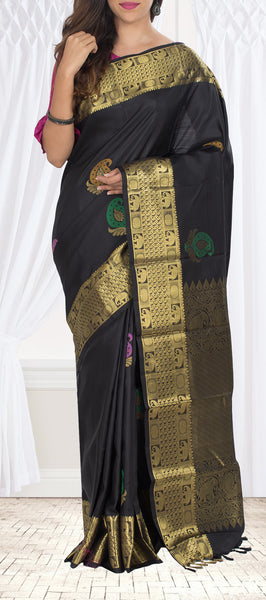 Black Pure Kanchipuram Handloom Silk Saree With Half-fine Zari