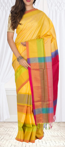 Yellow & Pink Semi Soft Silk Saree