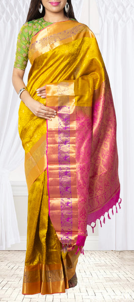 Mustard & Pink Lightweight Kanchipuram Silk Saree