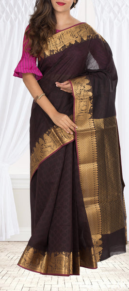 Sniff Brown Semi Silk Cotton Saree