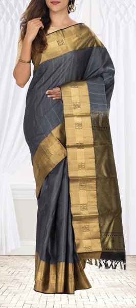 Grey Lightweight Kanchipuram Handloom Silk Saree