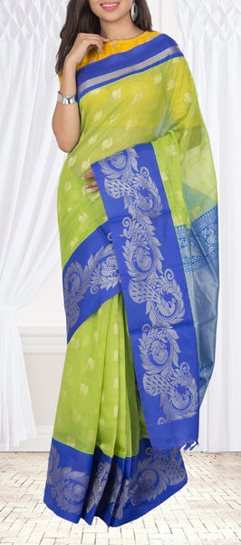 Parrot Green & Royal Blue Semi Soft Silk Saree