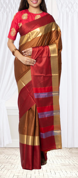 Brown and Maroon Semi Tussar Saree