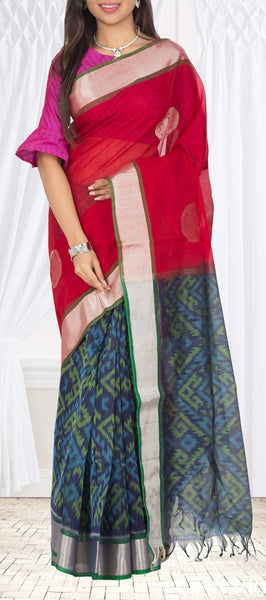 Red & Navy Blue Silk Cotton Saree