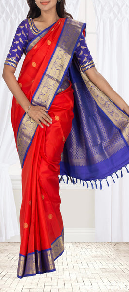 Bright Red & dark Blue Pure Kanchipuram Handloom Silk Saree