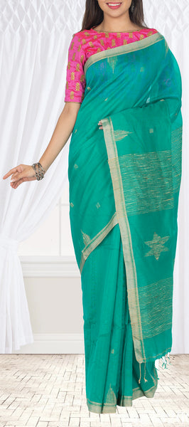 Teal Green Maheshwari Cotton Saree