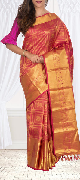 Deep Red Pure Kanchipuram Handloom Silk Saree With Pure Zari