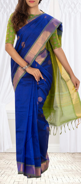 Dark Blue & Chutney Green Silk Cotton Saree