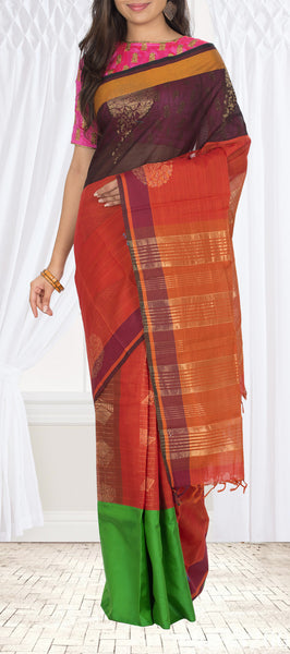 Brown & Orange Fusion Silk Cotton Saree