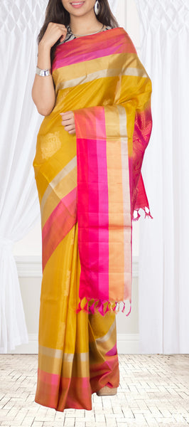 Mustard & Pink Soft Silk Saree