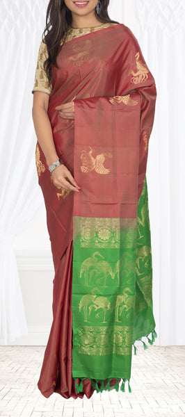 Rust Brown & Green Soft Silk Saree