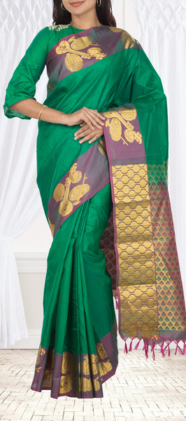 Deep Green Lightweight Kanchipuram Handloom Silk Saree