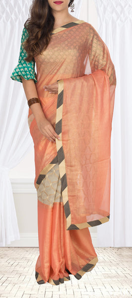 Peach Semi Tussar Silk Saree