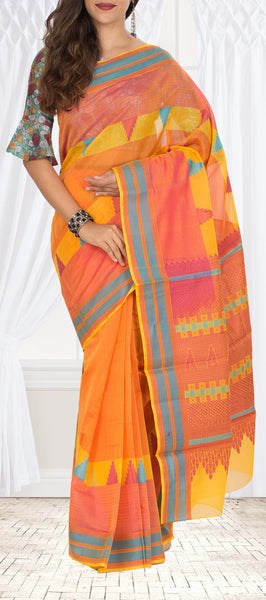 Orange & Peach Silk Cotton Saree