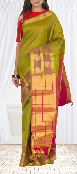Chutney Green & Dark Pink Fancy Silk Mix Saree