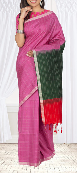 Pink, Green & Red Soft Silk Saree