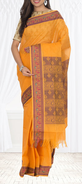 Orange & Purple Embossed Cotton Saree