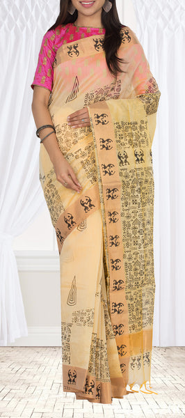 Light Yellow Semi Silk Cotton Saree