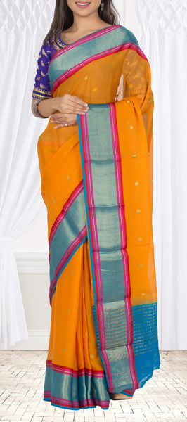 Orange & Blue Pure Chiffon Saree