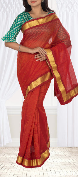 Red Pure Jute Saree