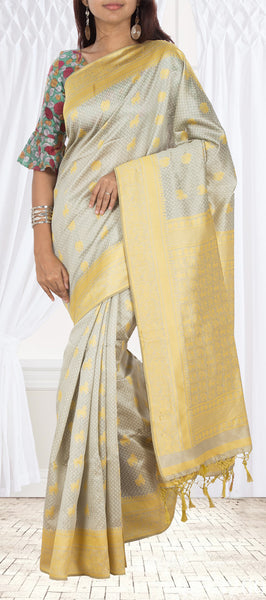Grey & Yellow Semi Jute Silk Saree