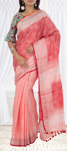 Peach & Red Semi Linen Saree